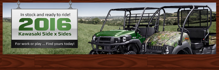 Click here to view our selection of 2016 Kawasaki side x sides!