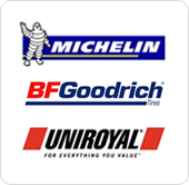 We provide Michelin, BFGoodrich, and Uniroyal