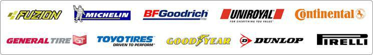 We proudly carry products from Fuzion, Michelin®, BFGoodrich®, Uniroyal®, Continental, General, Toyo, Goodyear, Dunlop, and Pirelli.