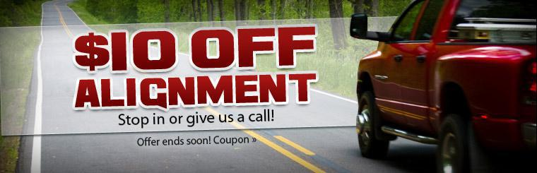 Click here to get $10 off alignment service with this coupon.