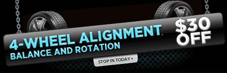 Get a 4-wheel alignment, balance, and rotation $30 off! Click here for a coupon.