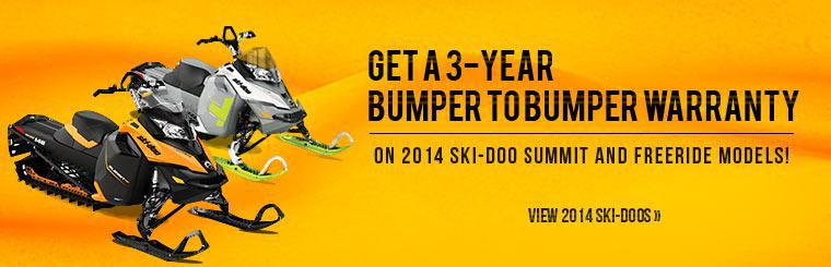Get a 3-year bumper to bumper warranty on 2014 Ski-Doo Summit and Freeride models!