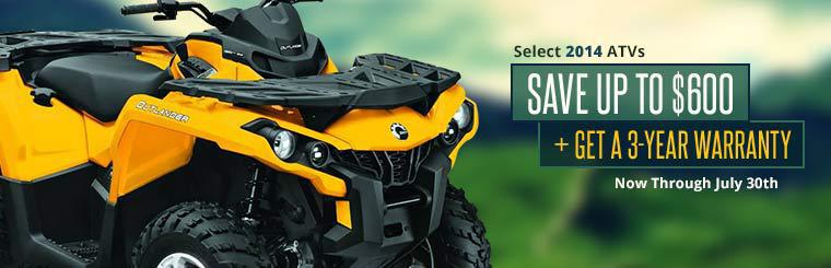 Save up to $600 plus get a 3-year warranty on select 2014 ATVs now through July 30th!