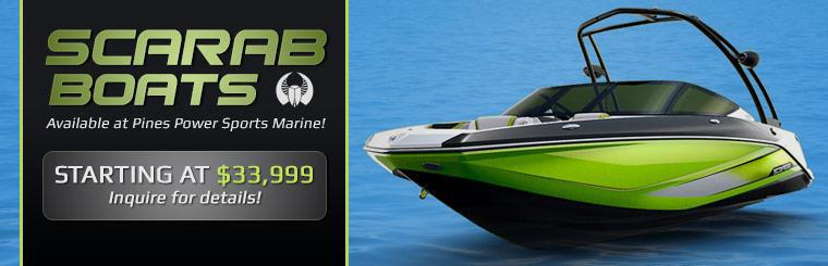 Scarab boats are available at Pines Power Sports Marine! Contact us for details.
