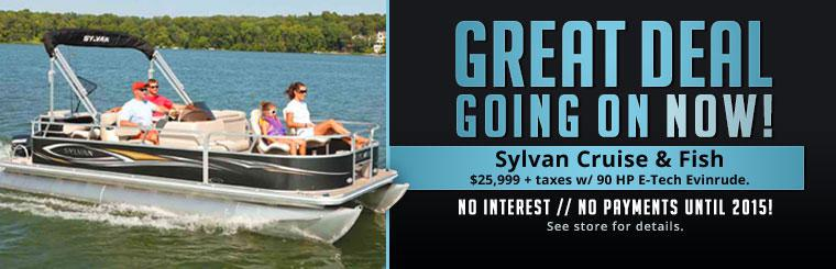 Great Deal: Sylvan Cruise and Fish pontoon on sale for just $25,999 plus taxes, with a 90 HP E-Tech Evinrude engine. See store for details.