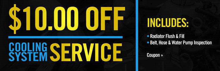 Get $10.00 off your next cooling system service. Click here to print the coupon.