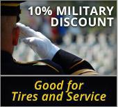 10% Military Discount Good for Tires and Service