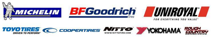 We carry tires from Michelin®, BFGoodrich®, Uniroyal®, Toyo, Cooper, Nitto, Yokohama, and Rough Country.