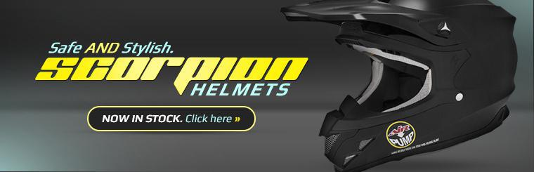 Scorpion helmets are now in stock. Click here to check them out.