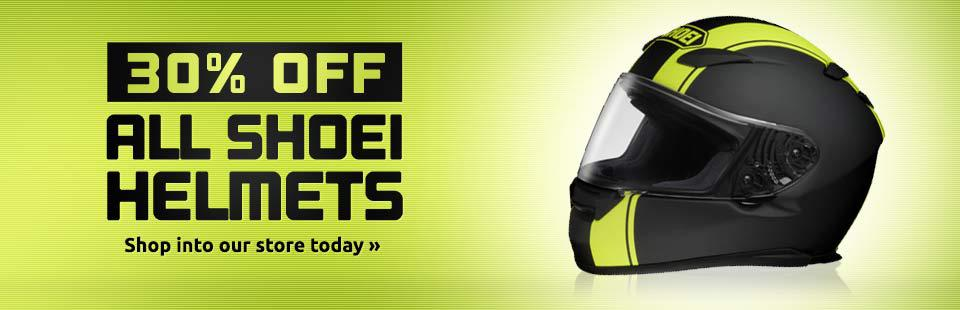 30% Off All Shoei Helmets: Shop into our store today!