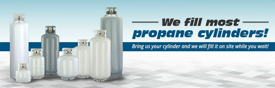 We fill most propane cylinders! Bring us your cylinder and we will fill it on site while you wait!
