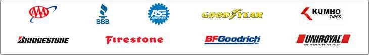 We carry products by Goodyear, Bridgestone, Firestone, BFGoodrich®, Uniroyal®, and Kumho.