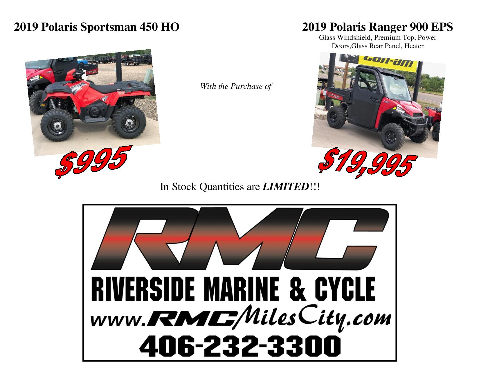 Inventory from Polaris Industries and Honda Riverside Marine