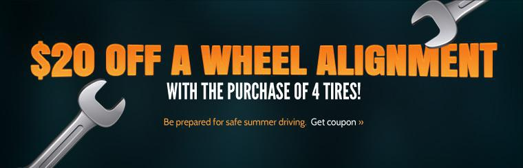 Take $20 off an alignment with the purchase of any set of four tires! Click here for the coupon.