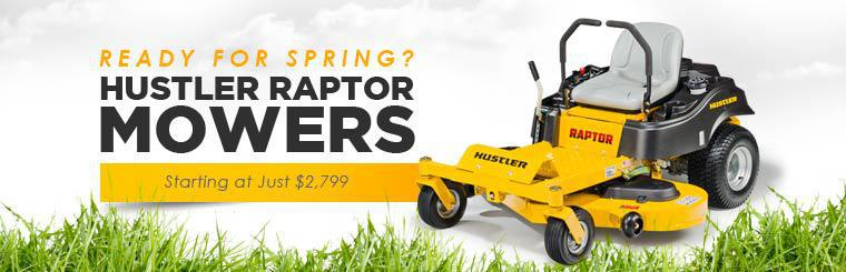 Hustler Raptor Mowers: Now starting at just $2,799! Click here to contact us for details.