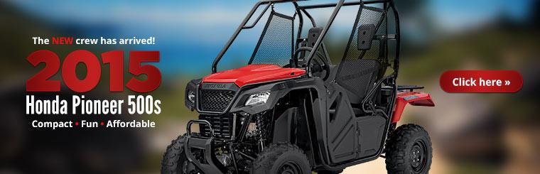 2015 Honda Pioneer 500s are compact, fun, and affordable. Click here to check them out.