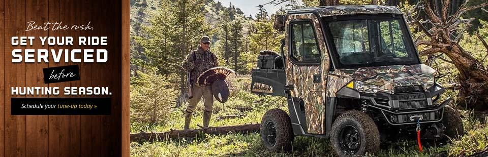 Beat the rush. Get your ride serviced before hunting season. Schedule your tune-up today.