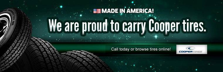 We are proud to carry Cooper tires. Call today or click here to browse tires online.