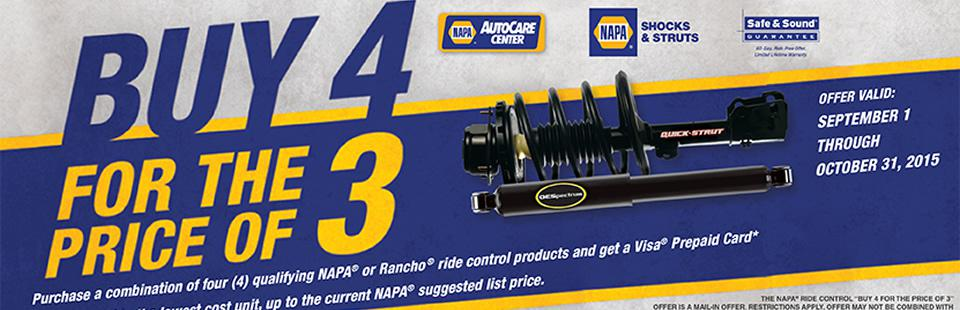 Buy 4 for the price of 3 shocks or struts