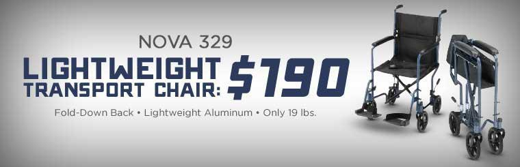 Get the Nova 329 lightweight transport chair for just $190!