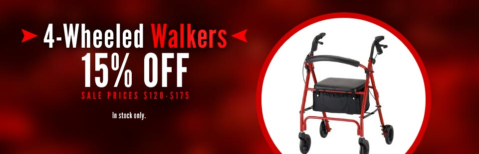 In stock 4-wheeled walkers are 15% off! Click here to view our selection.