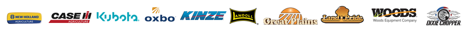 We carry products from New Holland, Case IH, Kubota, Oxbo, Kinze, Landoll, Great Plains, Land Pride, Woods, and Dixie Chopper.