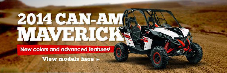 The 2014 Can-Am Maverick: Now with new colors and advanced features! Click here to view models.