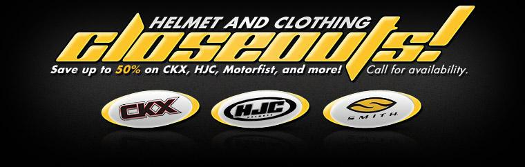 Helmet and Clothing Closeouts! Save up to 50% on CKX, HJC, Motorfist, and more! Click here to shop.