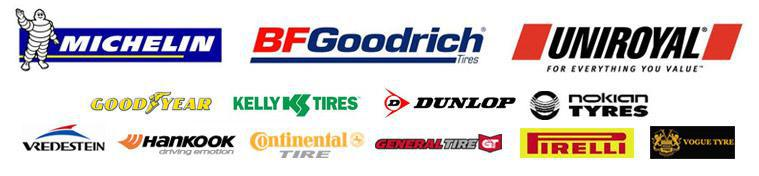 We proudly offer products from Michelin®, BFGoodrich®, Uniroyal®, Goodyear, Kelly Tires, Dunlop, Nokian, Vredestein, Hankook, Continental, General, Pirelli, and Vogue Tyre.