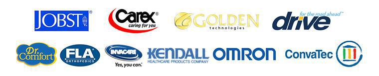 We carry products from JOBST, Carex, ConvaTec, Drive, Dr. Comfort, FLA Orthopedics, Golden Technologies, Invacare, Kendall, and OMRON.