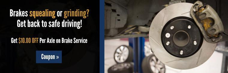 Get $10.00 off per axle on brake service! Click here to print the coupon.
