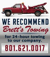 We recommend Brett's Towing for 24-hour towing to our company.