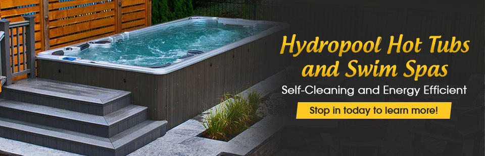 Hydropool hot tubs and swim spas are self-cleaning and energy efficient! Stop in today to learn more, or click here to contact us!