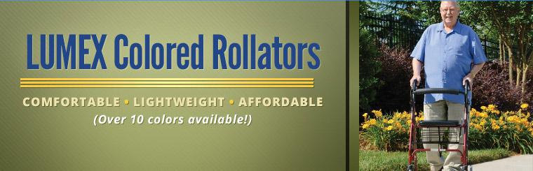 Lumex colored rollators are comfortable, lightweight, and affordable. Contact us for more details.