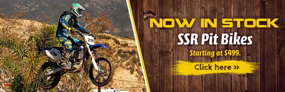 SSR Pit Bikes are now in stock, starting at $499! Click here to shop online.