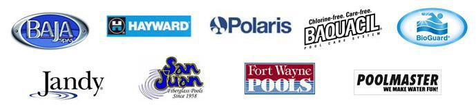 We carry Baja spas, Hayward, Polaris, Baquacil, BioGuard, Jandy, San Juan, Fort Wanye Pools, and Poolmaster products.