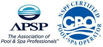 Association of Pool & Spa Professionals and NSPF Certified Pool-Spa Operator Logos