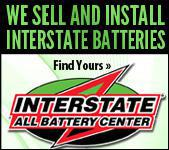 We sell and install Interstate Batteries.