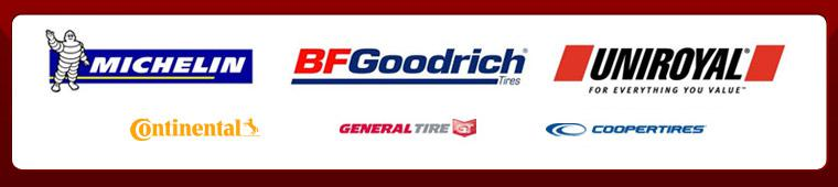 We proudly carry products from Michelin®, BFGoodrich®, Uniroyal®, Continental, General, and Cooper.