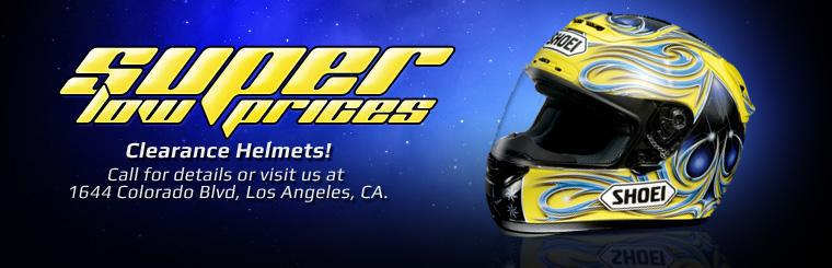Helmets are on clearance! Call or visit us at 1644 Colorado Blvd Los Angeles, CA for more details on our super low prices.