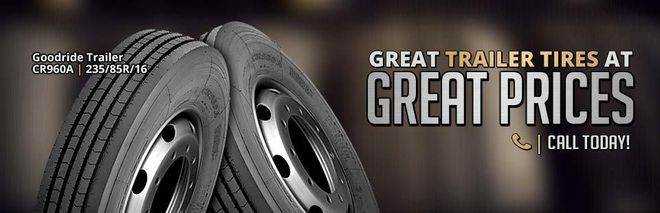 We have great trailer tires at great prices, including the Goodride Trailer CR960A, 235/85R/16! Click here to contact us.