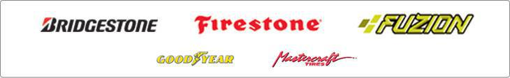We carry products from Bridgestone, Firestone, Fuzion, Goodyear, and Mastercraft.