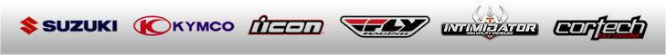 We carry products from Suzuki, KYMCO,  Icon, Fly Racing, Intimidator and Cortech.