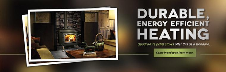 Quadra-Fire pellet stoves offer durable, energy efficient heating.