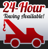 24-hour towing is available!