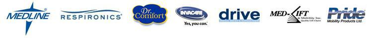 We proudly carry products from Medline, Respironic, Dr. Comfort, Invacare, Drive, Med-Lift, and Pride