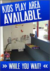 Kids play area available while you wait.