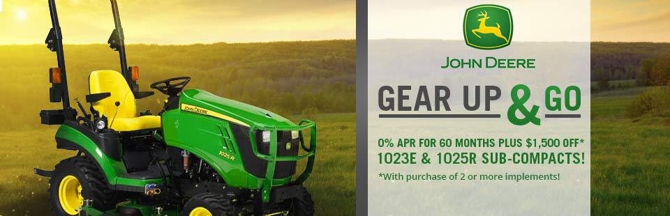 John Deere 1023E & 1025R Sub-Compact Special: Get 0% APR for 60 months, plus $1,500 off with purchase of 2 or more implements!