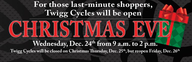 Twigg Cycles Christmas Eve Hours - 9am - 2pm