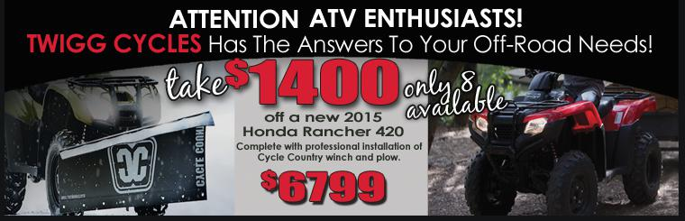Best Pricing in Twigg Cycles History! Honda Ranchers with plow - $6799